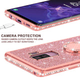 3D Diamond 360 Degree Rotating Ring Holder Plating soft TPU Glitter Bling Phone Case Back Cover for Samsung Galaxy S10E/S10 Plus/S10/S9 Plus/S9/S8 Plus/S8/Note 9/Note 8 - caseative