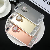 Diamond Plated Mirror Finger Ring Holder Stand Phone Case Back Cover for iPhone SE/11 Pro Max/11 Pro/11/XS Max/XR/XS/X/8 Plus/8/7 Plus/7/6s Plus/6s/6 Plus/6 - caseative