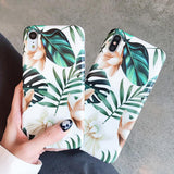 Art Flowers Leaf IMD Phone Case Back Cover for iPhone 11 Pro Max/11 Pro/11/XS Max/XR/XS/X/8 Plus/8/7 Plus/7/6s Plus/6s/6 Plus/6 - caseative