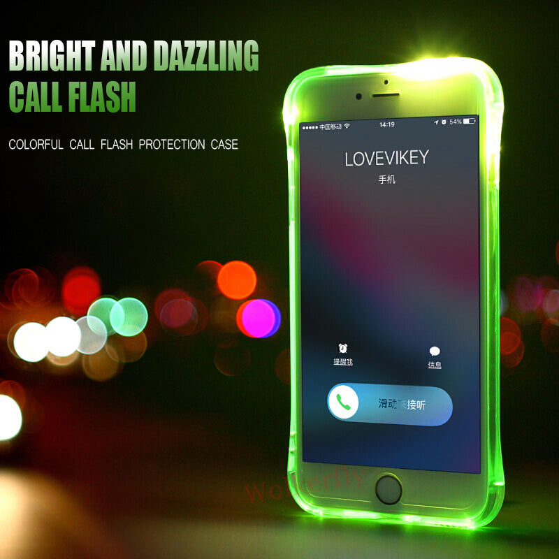 hot sale online b4ecd 874b1 LED Flash Light Up Remind Incoming Call Phone Case Back Cover for iPhone XS  Max/XR/XS/X/8 Plus/8/7 Plus/7/6s Plus/6s/6 Plus/6