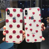 Fashion Cute Cartoon Love Heart Wave Point Soft TPU Phone Case Back Cover for iPhone SE/11 Pro Max/11 Pro/11/XS Max/XR/XS/X/8 Plus/8/7 Plus/7/6s Plus/6s/6 Plus/6 - caseative