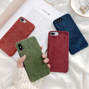 Smooth Suede Fur Soft Silicone Phone Case Back Cover for iPhone SE/11 Pro Max/11 Pro/11/XS Max/XR/XS/X/8 Plus/8/7 Plus/7/6s Plus/6s/6 Plus/6 - caseative
