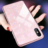 Dream Shell Plating Metal Border Phone Case Back Cover for iPhone SE/11 Pro Max/11 Pro/11/XS Max/XR/XS/X/8 Plus/8/7 Plus/7/6s Plus/6s/6 Plus/6 - caseative