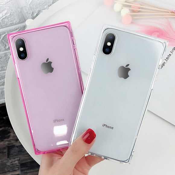 Square Transparent Silicone Phone Case Back Cover for iPhone 11 Pro Max/11 Pro/11/XS Max/XR/XS/X/8 Plus/8/7 Plus/7/6s Plus/6s/6 Plus/6 - caseative