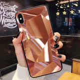 Glitter Diamond Texture Mirror Acrylic Phone Case Back Cover for iPhone SE/11 Pro Max/11 Pro/11/XS Max/XR/XS/X/8 Plus/8/7 Plus/7/6s Plus/6s/6 Plus/6 - caseative