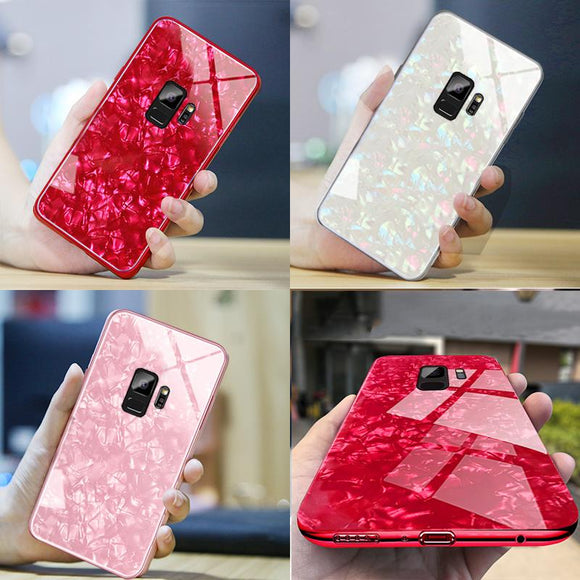 Luxury Tempered Glass Silicone Frame Bling Shell Phone Case Back Cover for Samsung Galaxy S10E/S10 Plus/S10/S9 Plus/S9/S8 Plus/S8/Note 8/Note 9