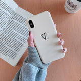 White Love Heart Hard PC Matte Phone Case Back Cover for iPhone SE/11 Pro Max/11 Pro/11/XS Max/XR/XS/X/8 Plus/8/7 Plus/7/6s Plus/6s/6 Plus/6 - caseative
