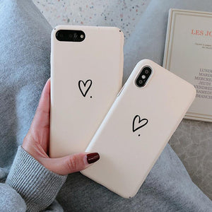 White Love Heart Hard PC Matte iPhone Case