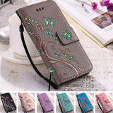 Butterfly Flower Print Leather Flip Wallet Phone Case Back Cover for iPhone XS Max/XR/XS/X/8 Plus/8/7 Plus/7/6s Plus/6s/6 Plus/6 - caseative