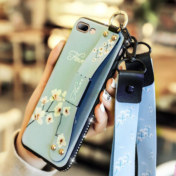 3D Retro Flower with Wrist Strap Lanyard Phone Case Back Cover for Samsung Galaxy S10E/S10 Plus/S10/S9 Plus/S9/S8 Plus/S8/Note 10 Pro/Note 10/Note 9/Note 8 - caseative
