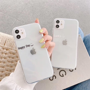 Lucky Happy Day Letters Transparent Soft iPhone Case
