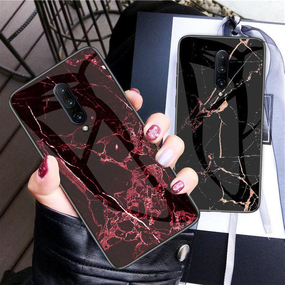 Marble Tempered Glass Silicone Frame Phone Case Back Cover for OnePlus 7 Pro/7/6T/6 - caseative
