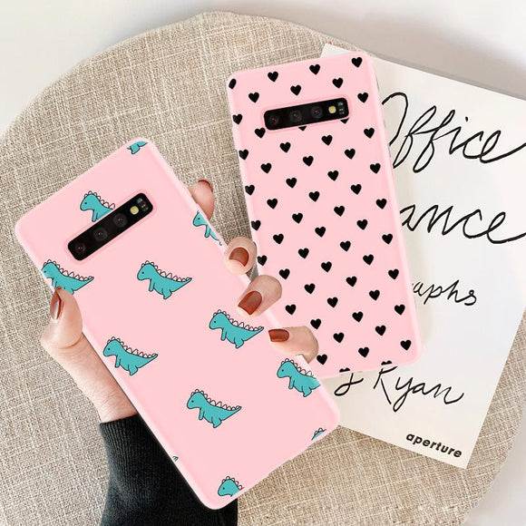 Candy Pink Dinosaur Heart Silicone Phone Case Back Cover for Samsung Galaxy S10E/S10 Plus/S10/S9 Plus/S9/S8 Plus/S8/Note 10 Pro/Note 10/Note 9/Note 8 - caseative