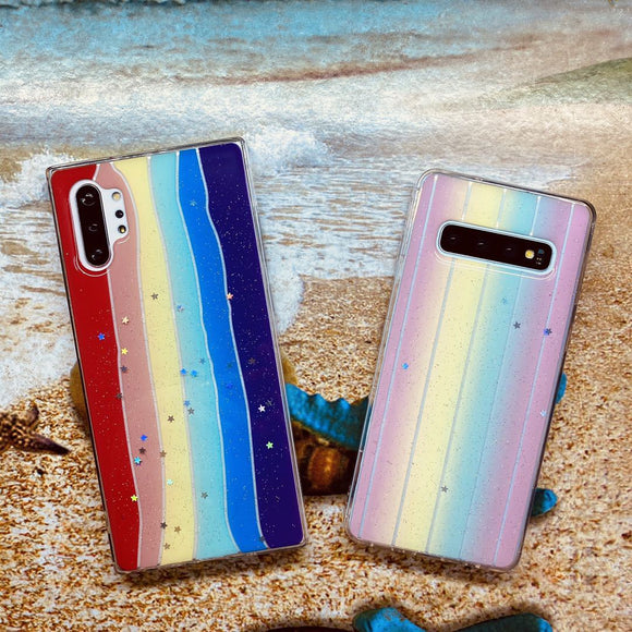 Glitter Star Rainbow Soft Samsung Case