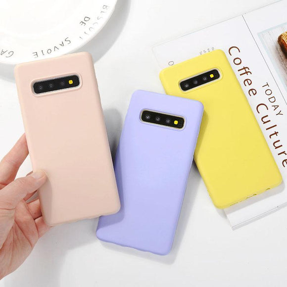 Candy Color Soft Silicone Phone Case Back Cover for Samsung Galaxy S20 Ultra/S20 Plus/S20/S10E/S10 Plus/S10/S9 Plus/S9/S8 Plus/S8/Note 10 Pro/Note 10/Note 9/Note 8 - caseative