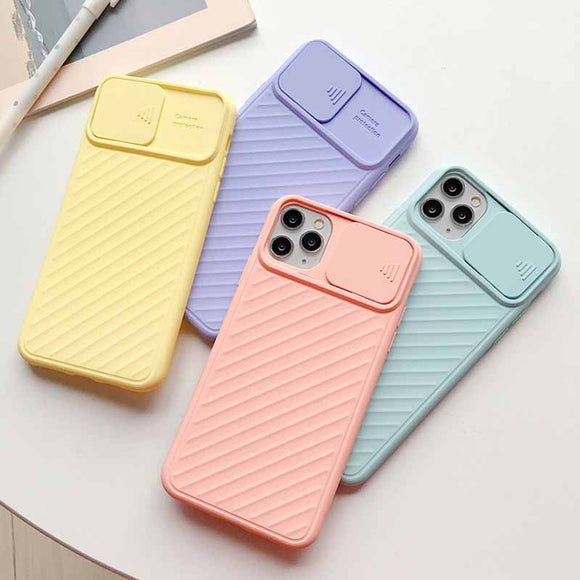 Candy Color Slide Camera Lens Protection Soft iPhone Case