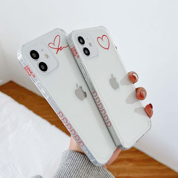 Love Couple Clear Soft iPhone Case