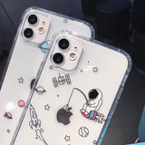 Cartoon Astronaut Planet Star Clear Soft Silicone iPhone Case