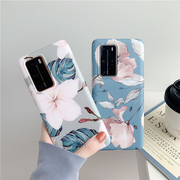 Watercolor Flower Leaf Soft Silicone Samsung Case