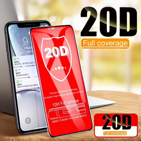 20D Curved Edge Full Cover Tempered Glass Screen Protector for iPhone 11 Pro Max/11 Pro/11/XS Max/XR/XS/X/8 Plus/8/7 Plus/7/6s Plus/6s/6 Plus/6 - caseative