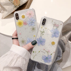 Glitter real Dry pressed Flower Phone Case Back Cover for iPhone SE/11/11 Pro/11 Pro Max/XS Max/XR/XS/X/8 Plus/8/7 Plus/7 - caseative