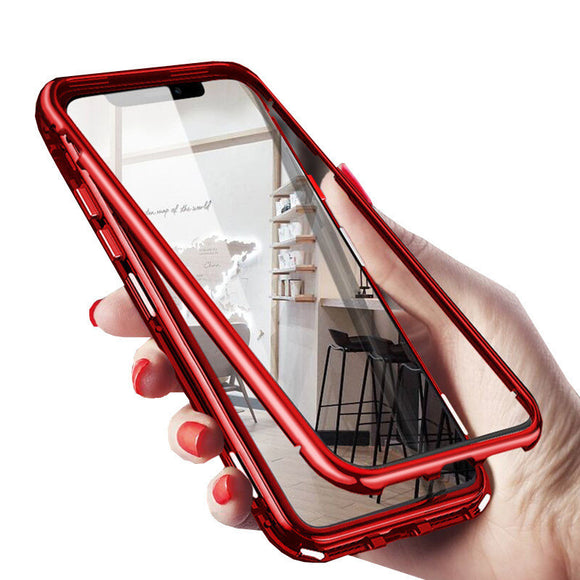 Magnetic Adsorption Metal Transparent Phone Case Back Cover for Samsung Galaxy S20 Ultra/S20 Plus/S20/S10E/S10 Plus/S10/S9 Plus/S9/Note 10 Pro/Note 10 - caseative
