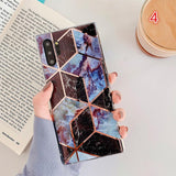 Electroplate Geometric Marble Soft Phone Case Back Cover for Samsung Galaxy S20 Ultra/S20 Plus/S20/S10E/S10 Plus/S10/S9 Plus/S9/Note 10 Pro/Note 10 - caseative
