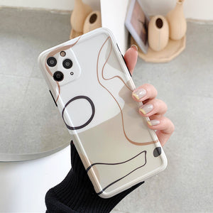 Abstract Line Art Painting Frame Camera Protector Soft iPhone Case