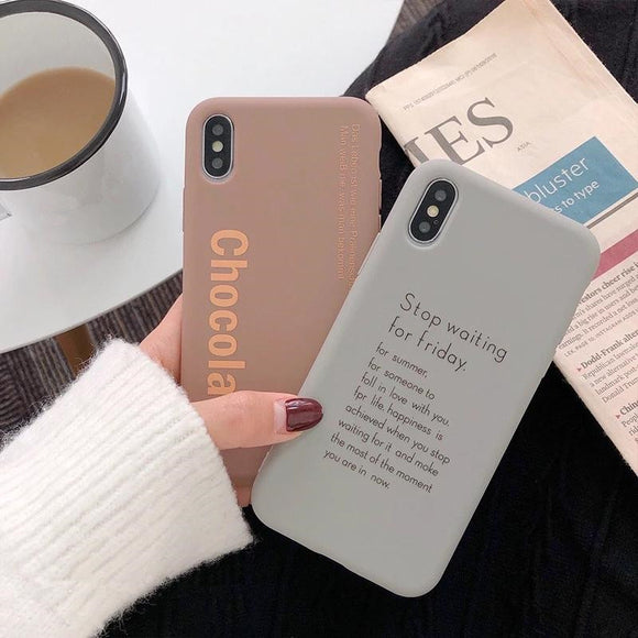 Simple Letters Solid Color Soft iPhone Case