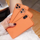 Orange Leather Camera Lens Protector Soft iPhone Case
