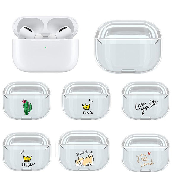 Cartoon Cute Pattern Transparent Wireless Bluetooth Earphone Cases for Airpods Pro - caseative