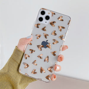 Cute Love Heart Gold Plating Clear Phone Case Back Cover for iPhone SE/11 Pro Max/11 Pro/11/XS Max/XR/XS/X/8 Plus/8/7 Plus/7 - caseative
