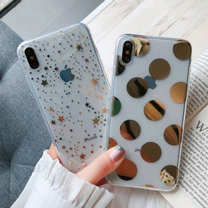 Electroplated Polka Dots Star Transparent Soft Phone Case Back Cover for iPhone SE/11/11 Pro/11 Pro Max/XS Max/XR/XS/X/8 Plus/8/7 Plus/7 - caseative