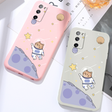 Cute Cosmic Cat Liquid Silicone Soft Samsung Case