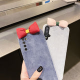 Warm Plush Bow Soft Huawei Case