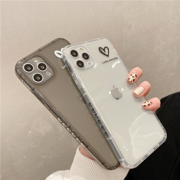 Side Pattern Love Heart Clear Soft iPhone Case