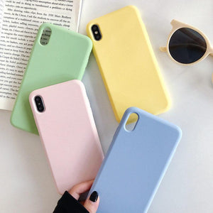 Candy Color Full Protection Liquid Silicone Phone Case Back Cover for iPhone SE/11 Pro Max/11 Pro/11/XS Max/XR/XS/X/8 Plus/8/7 Plus/7/6s Plus/6s/6 Plus/6 - caseative