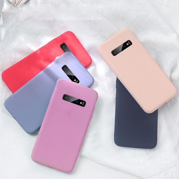 Candy Color Soft Silicone Bumper Phone Case Back Cover for Samsung Galaxy S20 Ultra/S20 Plus/S20/S10E/S10 Plus/S10/S9 Plus/S9/S8 Plus/S8/Note 10 Pro/Note 10 - caseative
