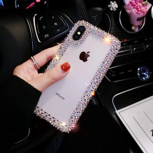 Fashion Crystal Diamond Edge Phone Case Back Cover for Samsung Galaxy S10E/S10 Plus/S10/S9 Plus/S9/S8 Plus/S8/Note 9/Note 8 - caseative