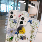 Luxury Real Dried Flowers Silicone Clear Soft iPhone Case