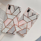 Fashion Artistic Geometric Marble Soft Silicone Phone Case Back Cover for iPhone SE/11 Pro Max/11 Pro/11/XS Max/XR/XS/X/8 Plus/8/7 Plus/7/6s Plus/6s/6 Plus/6 - caseative