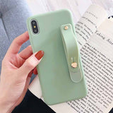 Candy Color Wrist Strap Hand Band Phone Case Back Cover for iPhone SE/11 Pro Max/11 Pro/11/XS Max/XR/XS/X/8 Plus/8/7 Plus/7/6s Plus/6s/6 Plus/6 - caseative
