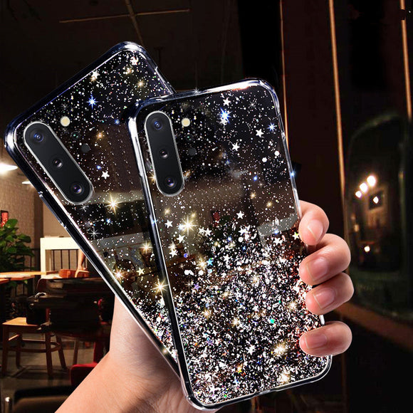 Glitter Star Bling Foil Soft Phone Case Back Cover for Samsung Galaxy S20 Ultra/S20 Plus/S20/S10E/S10 Plus/S10/S9 Plus/S9/S8 Plus/S8/Note 10 Pro/Note 10/Note 9/Note 8 - caseative