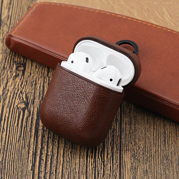 Vintage Matte Leather Storage Bag with Hook Wireless Bluetooth Earphone Cases for Airpods
