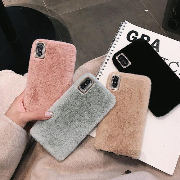 Simple Solid Color Winter Warm Short Plush Soft Phone Case Back Cover for iPhone SE/11 Pro Max/11 Pro/11/XS Max/XR/XS/X/8 Plus/8/7 Plus/7 - caseative