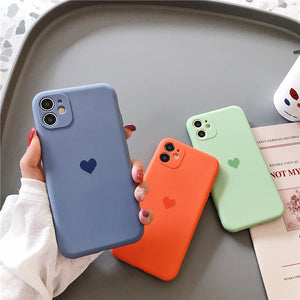 Candy Color Love Heart Camera Lens Protector Soft Silicone iPhone Case