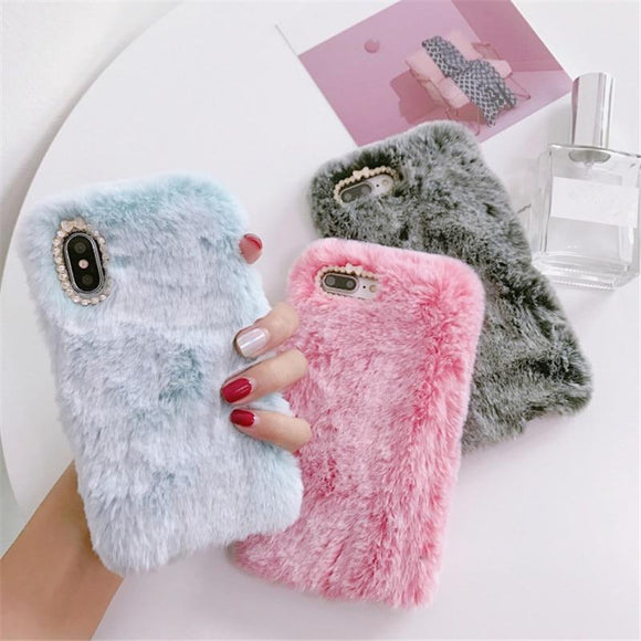 Rabbit Furry Hairy Fuzzy Plush Fluffy Winter Warm Phone Case Back Cover for iPhone SE/11 Pro Max/11 Pro/11/XS Max/XR/XS/X/8 Plus/8/7 Plus/7/6s Plus/6s/6 Plus/6 - caseative