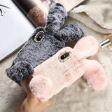 Rabbit Hair Fluffy Fur Plush Diamond Phone Case Back Cover for iPhone SE/11 Pro Max/11 Pro/11/XS Max/XR/XS/X/8 Plus/8/7 Plus/7/6s Plus/6s/6 Plus/6 - caseative