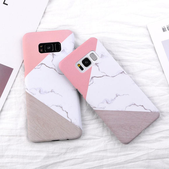 Fashion Marble Texture Geometric Splice Phone Case Back Cover for Samsung Galaxy S9 Plus/S9/S8 Plus/S8/S7 Edge/S7/S6 Edge/S6 - caseative