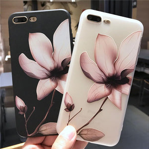 3D Relief Flower Luxury TPU Silicone Rubber Soft Phone Case Back Cover for iPhone 11 Pro Max/11 Pro/11/XS Max/XR/XS/X/8 Plus/8/7 Plus/7/6s Plus/6s/6 Plus/6 - caseative